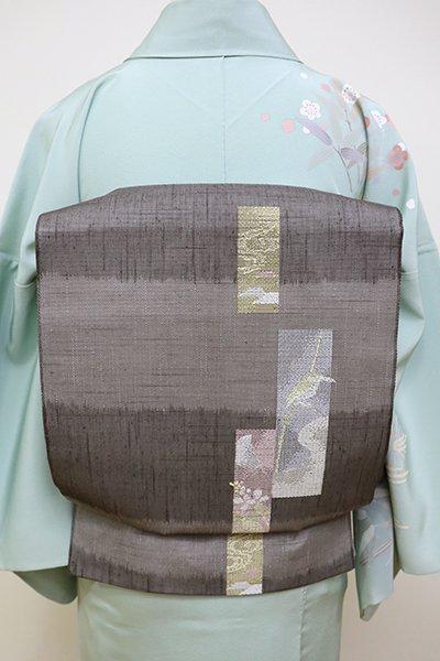 銀座【L-4460】紗 袋帯 墨色濃淡 横段に短冊文