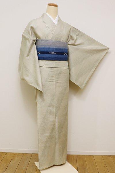 銀座【A-2800】↑Sサイズ↓単衣 紬 絹鼠色 絣の斜め縞