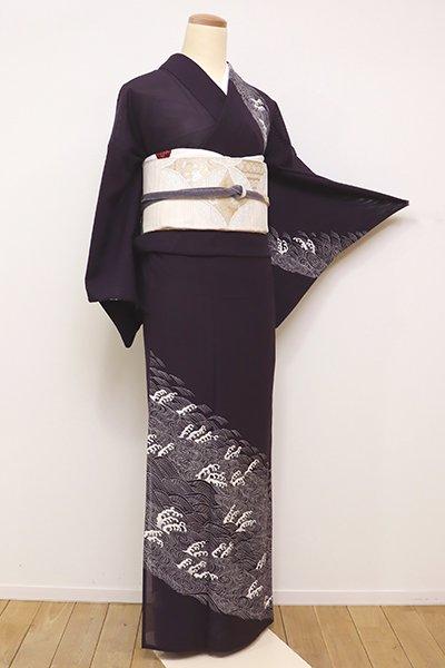 銀座【B-2202】←ユッタリ→染一ッ紋 絽 訪問着 深い滅紫色 波濤文