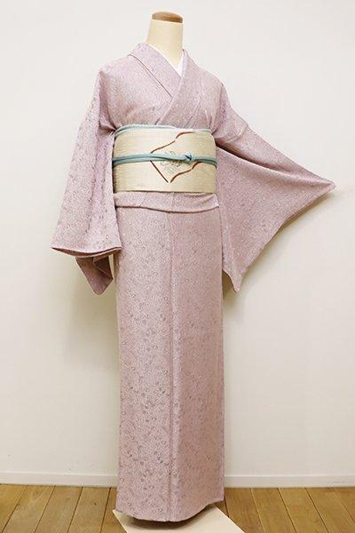 銀座【C-1616】(S)単衣 御召地 染一ッ紋 色無地 淡い石竹色 欧風装飾文