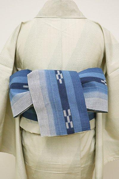 銀座【K-6025】ミンサー織 半幅帯 薄鈍色×藍色濃淡 縞に絣文(新品)
