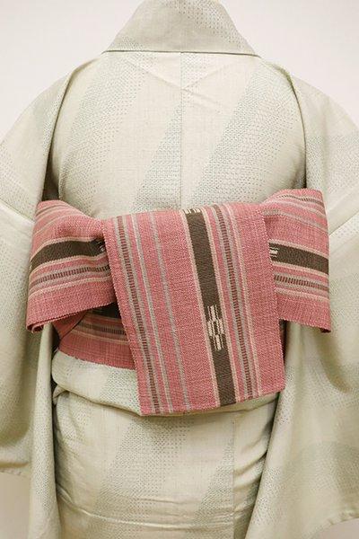 銀座【K-6026】ミンサー織 半幅帯 退紅色 縞に絣文