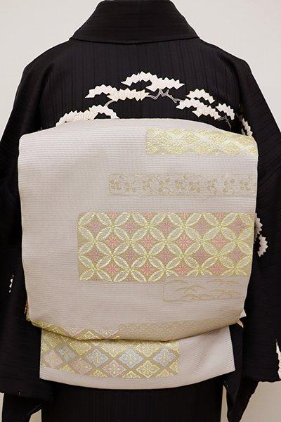 銀座【L-4462】西陣製 絽 袋帯 潤色 段重ね割付文 (証紙付)