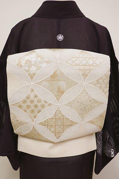 銀座【L-4464】絽綴れ 袋帯 淡い薄卵色 名物柄寄せ七宝文