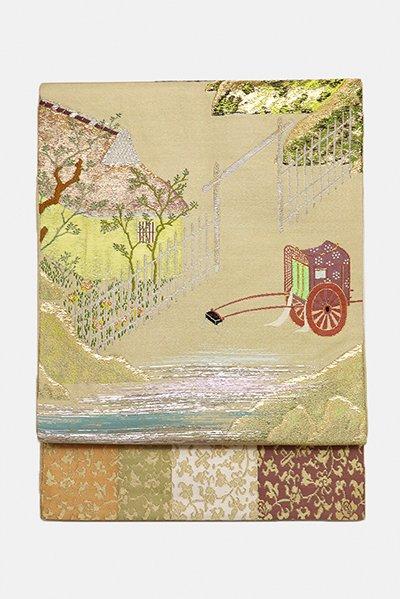 銀座【帯2982】龍村平蔵製 本袋帯 白橡色「源氏関屋文」
