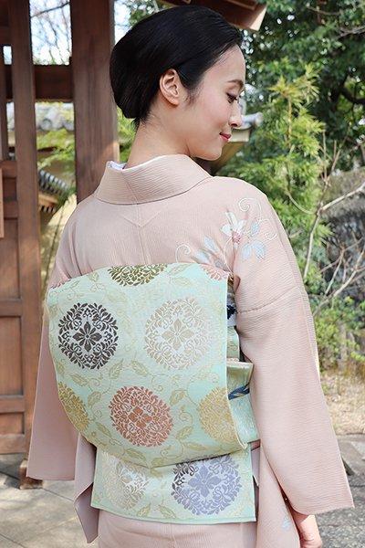 銀座【帯2983】絽袋帯 裏葉柳色 有職文
