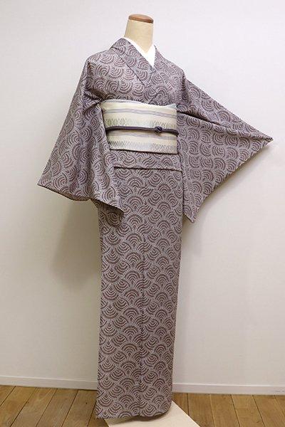 銀座【D-2211】きもの英製 絽 小紋 煤竹色系 変わり青海波文
