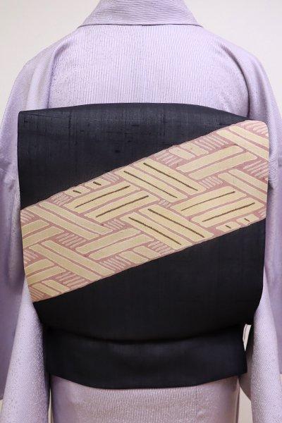 銀座【K-6031】染の北川製 紗紬 染名古屋帯 黒色 網代文(未使用・反端付)