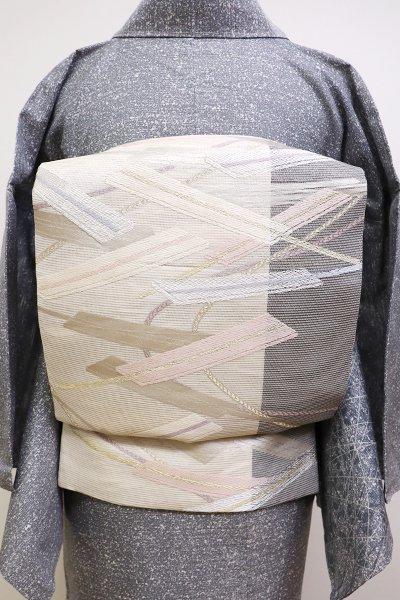 銀座【L-4467】絽 袋帯 練色×墨色 扇散らし文
