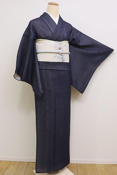 銀座【D-2214】(S・細め)紗合わせ 小紋 青褐色 縞に抽象文
