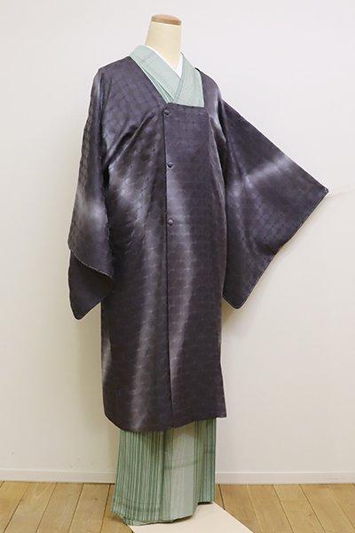 あおき【E-1047】紋紗 道行コート 青褐色 流線暈かし(しつけ付)(N)