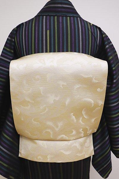 銀座【K-6033】本場筑前博多織 紋織り 八寸名古屋帯 練色 花唐草文(証紙付)