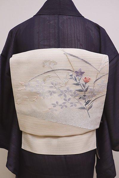 銀座【K-6034】西陣 河村織物製 絽綴れ 八寸名古屋帯 練色 秋草の図(落款入)