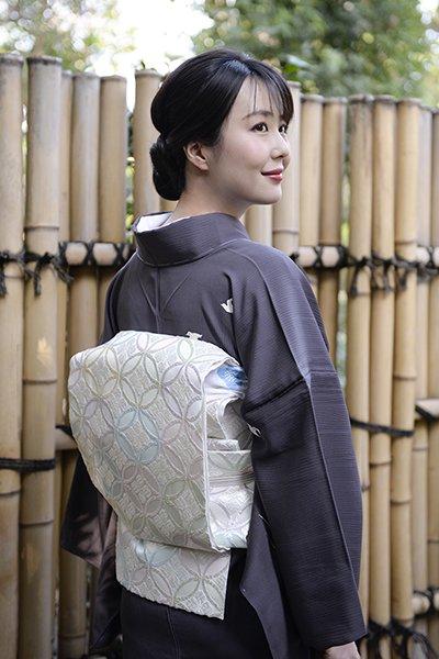 銀座【帯2987】西陣 � 都製 夏袋帯 白色 貴煌七宝文 (西陣証紙付)