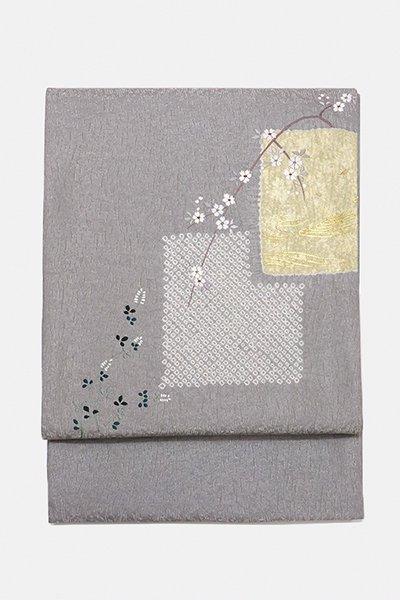 銀座【帯2989】大喜百花 洒落袋帯 (反端付・落款入)