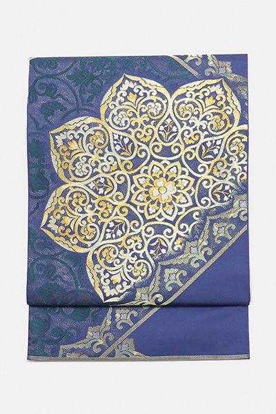 銀座【帯2993】西陣 川島織物製 本袋帯  青系唐花文