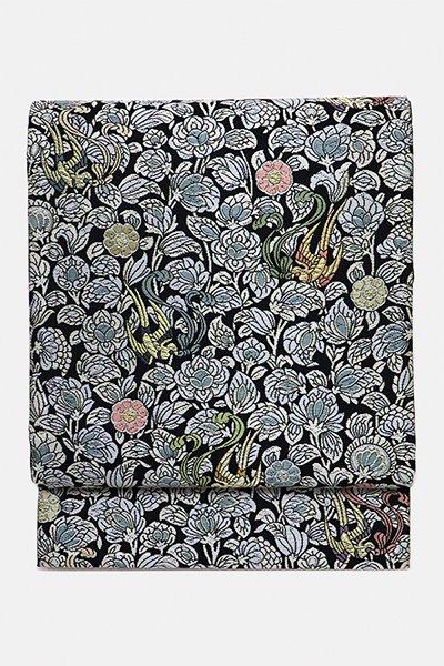 銀座【帯2994】西陣 紋屋井関製 袋帯 黒色 宝相華に尾長鳥
