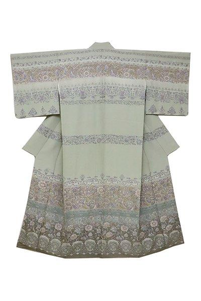 銀座【着物2453】汕頭刺繍 訪問着 青白橡色 更紗花文
