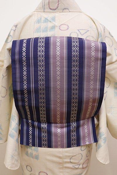 銀座【K-5789-2】本場筑前博多織 八寸名古屋帯 濃藍色×藤色 献上柄(証紙付・新品)