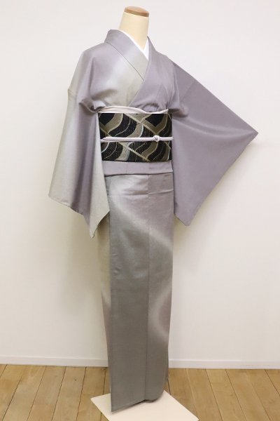 銀座【B-2207】→ホッソリ←単衣 本塩沢 付下げ 煤色×灰汁色 流線暈かし