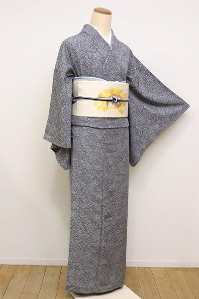 WEB限定【D-2215】(S)単衣 小紋 灰色 牡丹の図