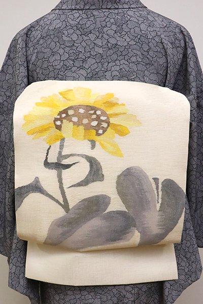 銀座【K-6037】夏 織名古屋帯 淡い鳥の子色 向日葵の図