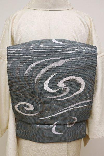 銀座【K-6038】西陣製 絽 織名古屋帯 深い錆鉄御納戸色 渦の図(証紙付)(N)