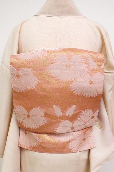 銀座【L-4469】西陣 織悦製 紗 本袋帯 宍色 撫子の図