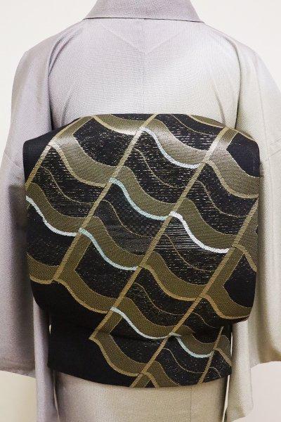 銀座【L-4470】絽 袋帯 黒色 瓦文