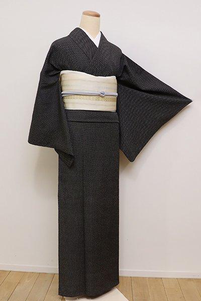 銀座【A-2805】←ユッタリ→単衣 本塩沢 黒色 蚊絣