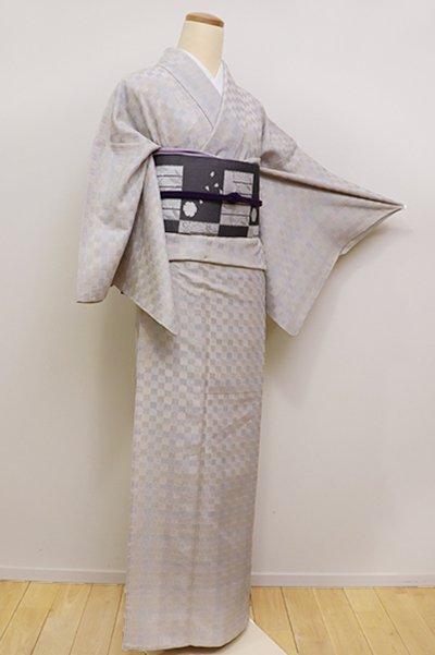 銀座【A-2806】トールサイズ 単衣 本塩沢 やまだ織 絹鼠色 市松文(証紙付)
