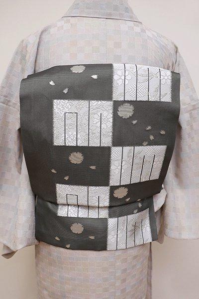 銀座【K-6040】絽 織名古屋帯 墨色 源氏香の図