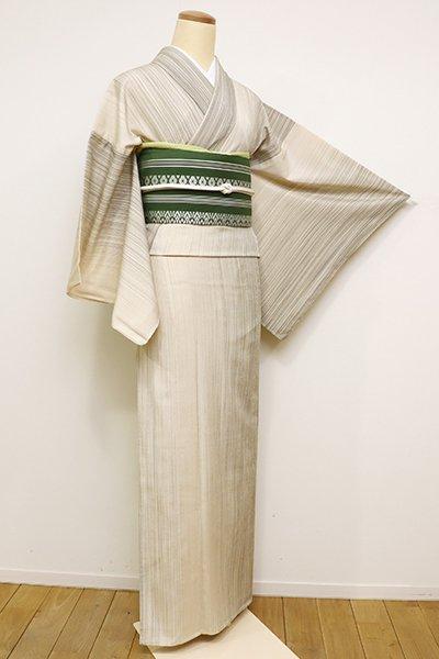 銀座【A-2807】単衣 本塩沢 練色 細縞