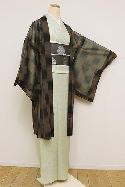 銀座【E-1049】紗 羽織 灰茶色×黒色 市松暈かし(しつけ付)