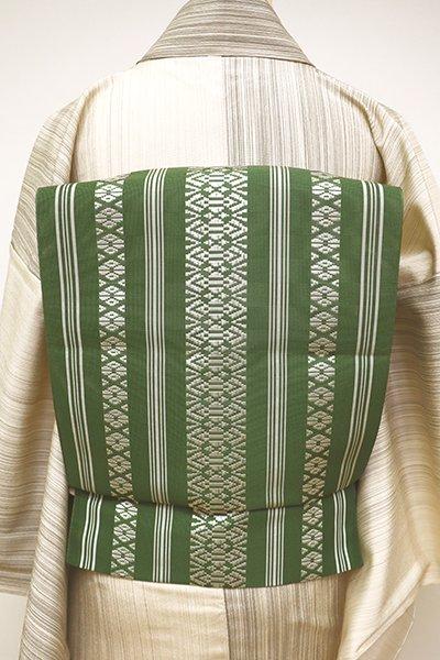 銀座【K-6043】博多織 紗献上 八寸名古屋帯 老竹色