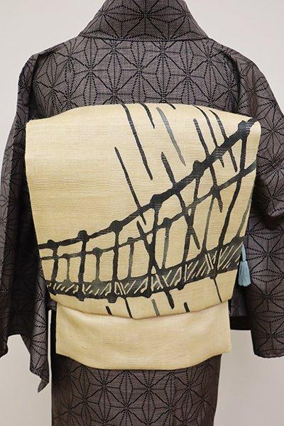 銀座【K-6045】絽麻 染名古屋帯 浅黄色 橋の図