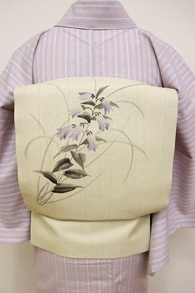 銀座【K-6046】紗紬 染開き名古屋帯 蒸栗色 蛍袋の図(落款入・未使用)