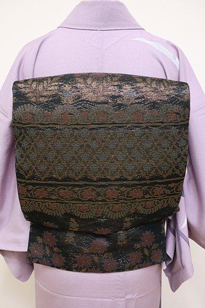 銀座【L-4473】西陣製 紗 本袋帯 黒色 更紗風段花文(証紙付)