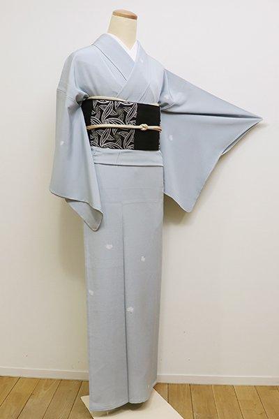 銀座【D-2220】(S)単衣 小紋 暗い月白色 綿毛の図(しつけ付)
