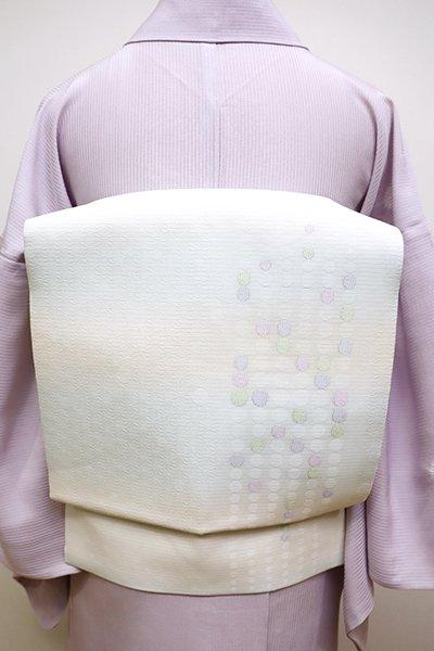 銀座【K-6047】夏 織名古屋帯 白色×月白 ドットの抽象文