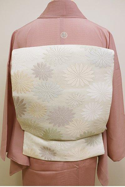 銀座【K-6048】西陣製 絽 織名古屋帯 白色 菊の図(証紙付)