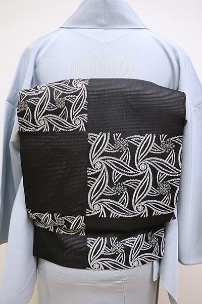 銀座【K-6049】西陣製 絽 織名古屋帯 黒色 市松に抽象文(証紙付・新品)