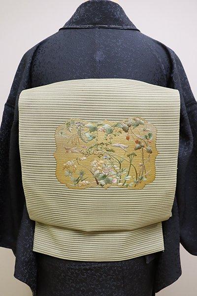 銀座【K-6050】絽綴れ 刺繍 八寸名古屋帯 淡い柳茶色 四季花に鳥の図