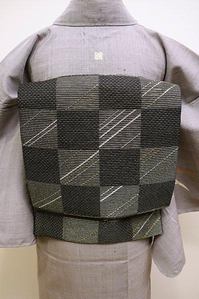 あおき【L-4474】夏 袋帯 黒色 市松に幾何文