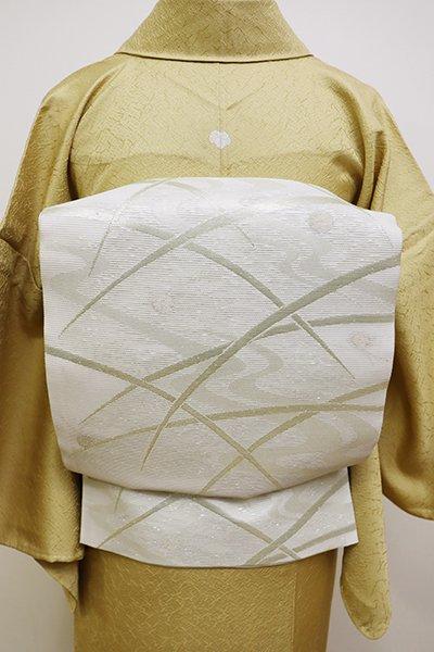 銀座【L-4475】絽 袋帯 白練色 露芝の図