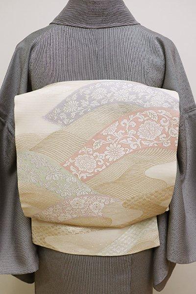 銀座【L-4476】絽 袋帯 薄卵色 波文