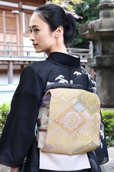 銀座【帯2996】絽袋帯 練色 装飾菱文