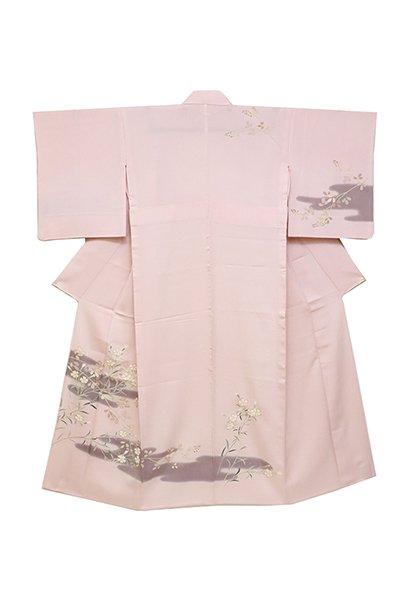 銀座【着物2457】単衣 付下げ 薄桜色 撫子の図