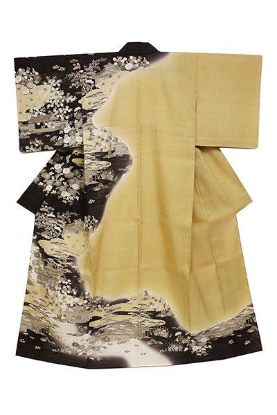 銀座【着物2459】京都しょうざん製 生紬地訪問着 (証紙付) 風景図