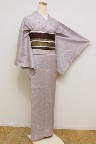 銀座【D-2223】単衣 紬地 小紋 牡丹鼠色 抽象文